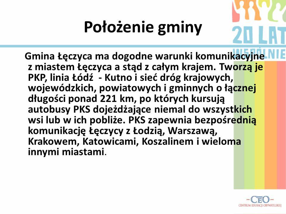 Położenie gminy Gmina Łęczyca ma dogodne warunki komunikacyjne z miastem Łęczyca a stąd z całym krajem. Tworzą je PKP, linia Łódź - Kutno i sieć dróg