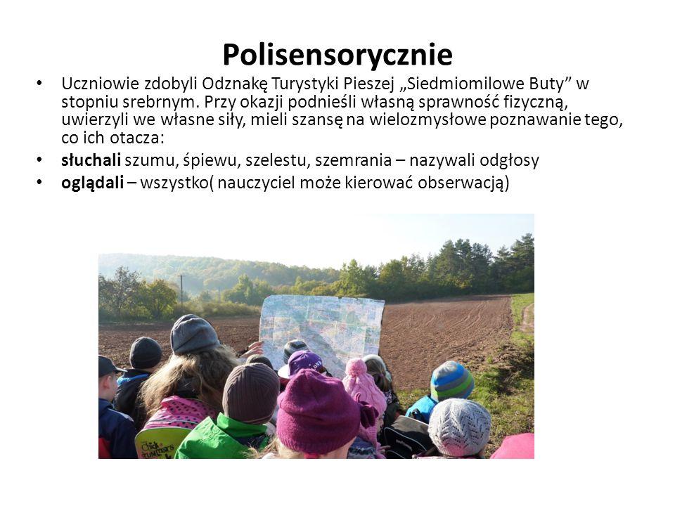 """Polisensorycznie Uczniowie zdobyli Odznakę Turystyki Pieszej """"Siedmiomilowe Buty w stopniu srebrnym."""