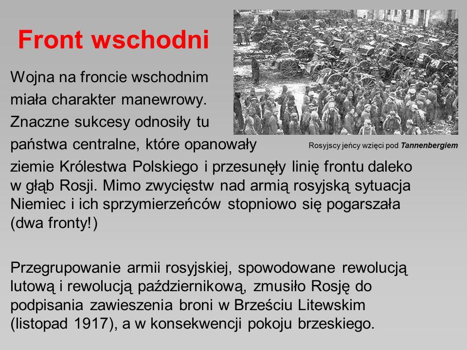 Wojna na froncie wschodnim miała charakter manewrowy. Znaczne sukcesy odnosiły tu państwa centralne, które opanowały ziemie Królestwa Polskiego i prze