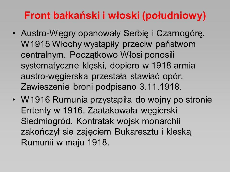 Front bałkański i włoski (południowy) Austro-Węgry opanowały Serbię i Czarnogórę. W1915 Włochy wystąpiły przeciw państwom centralnym. Początkowo Włosi