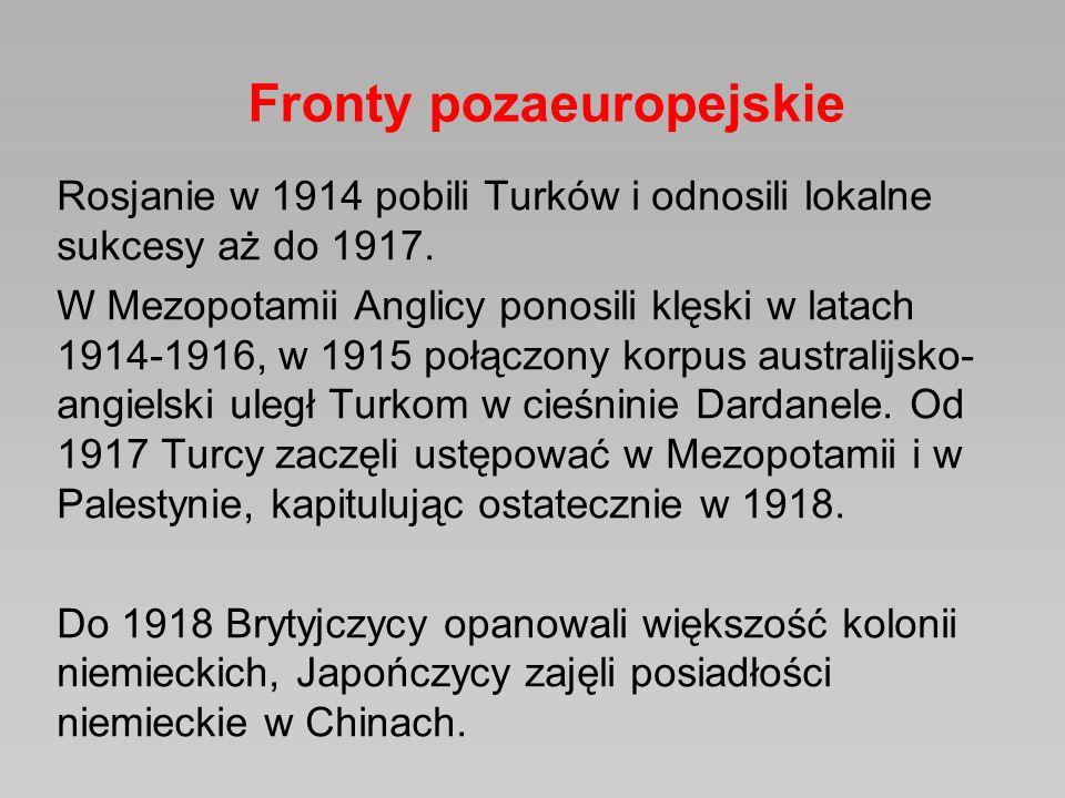 Rosjanie w 1914 pobili Turków i odnosili lokalne sukcesy aż do 1917. W Mezopotamii Anglicy ponosili klęski w latach 1914-1916, w 1915 połączony korpus
