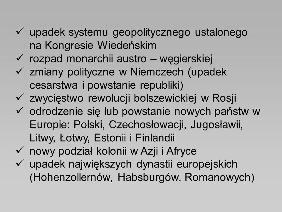 upadek systemu geopolitycznego ustalonego na Kongresie Wiedeńskim rozpad monarchii austro – węgierskiej zmiany polityczne w Niemczech (upadek cesarstw