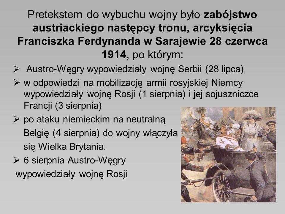 Pretekstem do wybuchu wojny było zabójstwo austriackiego następcy tronu, arcyksięcia Franciszka Ferdynanda w Sarajewie 28 czerwca 1914, po którym:  A