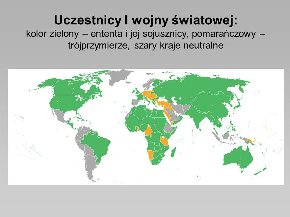 Uczestnicy I wojny światowej: kolor zielony – ententa i jej sojusznicy, pomarańczowy – trójprzymierze, szary kraje neutralne
