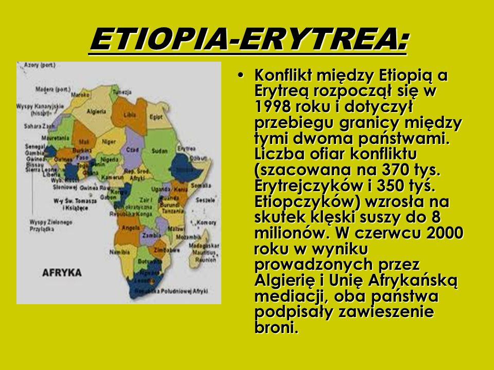 ETIOPIA-ERYTREA: Konflikt między Etiopią a Erytreą rozpoczął się w 1998 roku i dotyczył przebiegu granicy między tymi dwoma państwami. Liczba ofiar ko
