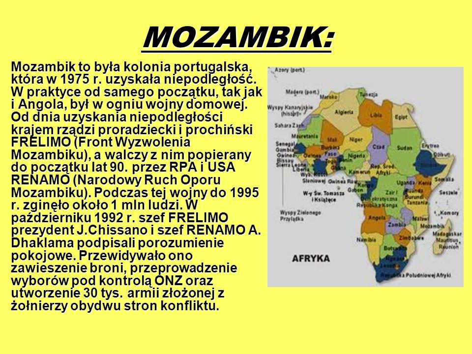 MOZAMBIK: Mozambik to była kolonia portugalska, która w 1975 r. uzyskała niepodległość. W praktyce od samego początku, tak jak i Angola, był w ogniu w