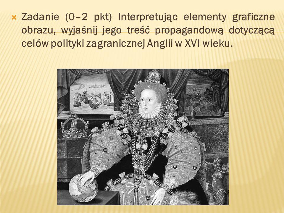  Zadanie (0–2 pkt) Interpretując elementy graficzne obrazu, wyjaśnij jego treść propagandową dotyczącą celów polityki zagranicznej Anglii w XVI wieku