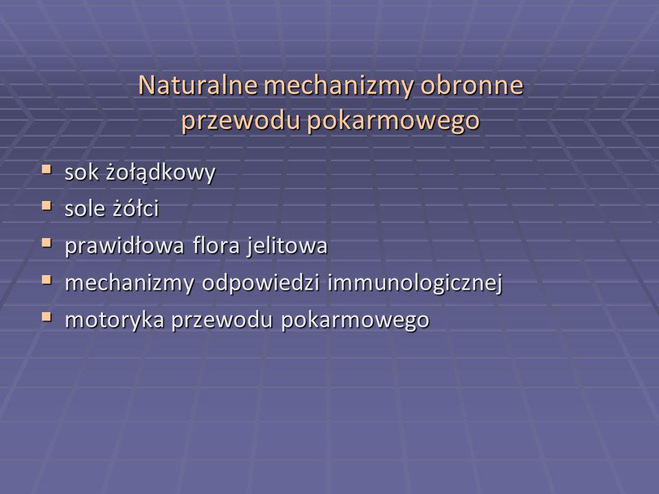 Flora bakteryjna przewodu pokarmowego  Żołądek- połykane z pożywieniem, w większości zabijane przez kwaśne środowisko żołądka - wyjątek - Mycobacterium tuberculosis, Helicobacter pylori - wyjątek - Mycobacterium tuberculosis, Helicobacter pylori - bezkwaśność sprzyja zapaleniom bakteryjnym żołądka - bezkwaśność sprzyja zapaleniom bakteryjnym żołądka  Górna część j.