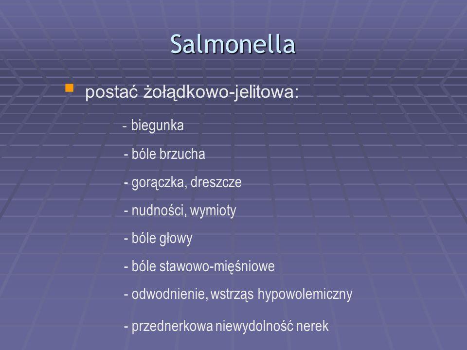 Salmonella  postać żołądkowo-jelitowa: - biegunka - bóle brzucha - gorączka, dreszcze - nudności, wymioty - bóle głowy - bóle stawowo-mięśniowe - odwodnienie, wstrząs hypowolemiczny - przednerkowa niewydolność nerek