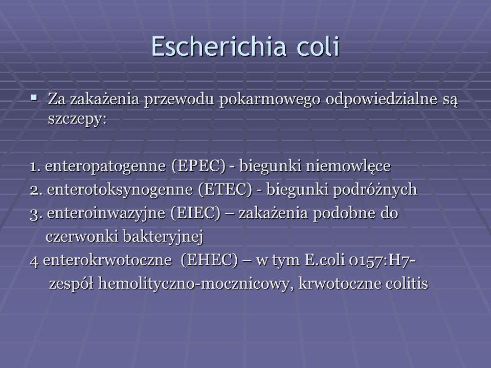 Escherichia coli  Za zakażenia przewodu pokarmowego odpowiedzialne są szczepy: 1. enteropatogenne (EPEC) - biegunki niemowlęce 2. enterotoksynogenne