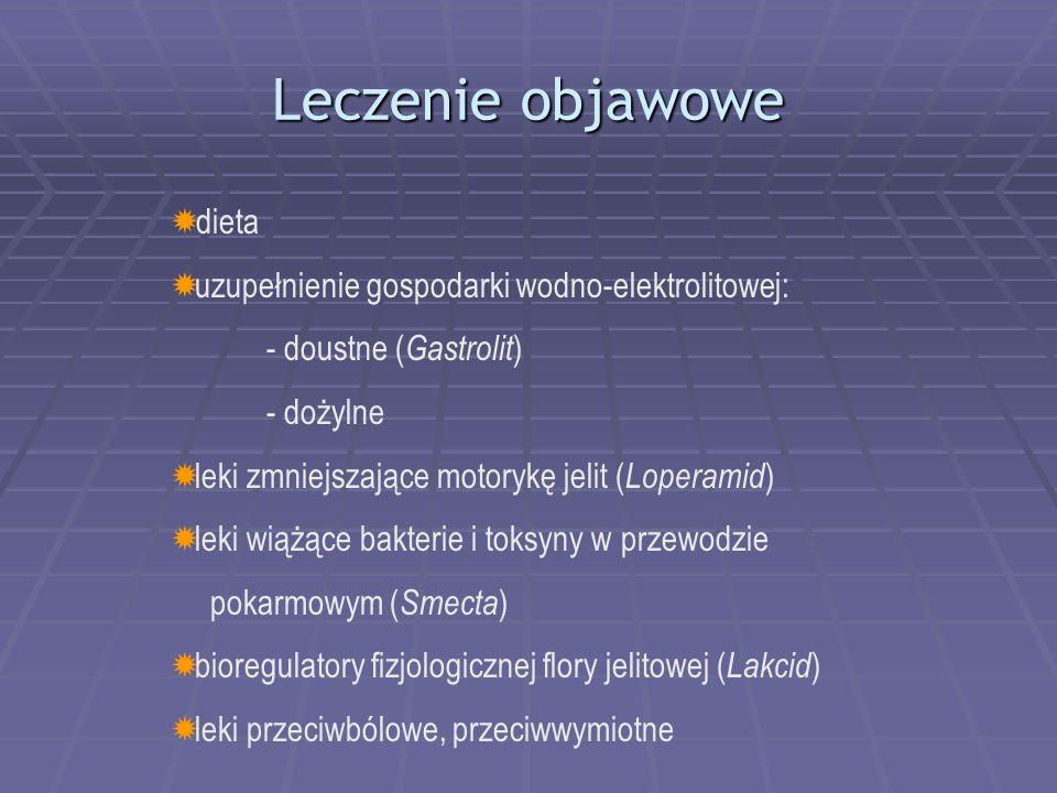 Leczenie objawowe  dieta  uzupełnienie gospodarki wodno-elektrolitowej: - doustne ( Gastrolit ) - dożylne  leki zmniejszające motorykę jelit ( Loperamid )  leki wiążące bakterie i toksyny w przewodzie pokarmowym ( Smecta )  bioregulatory fizjologicznej flory jelitowej ( Lakcid )  leki przeciwbólowe, przeciwwymiotne
