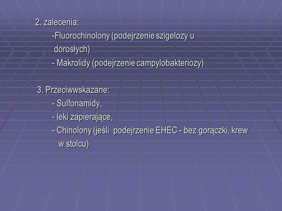2. zalecenia: 2. zalecenia: -Fluorochinolony (podejrzenie szigelozy u -Fluorochinolony (podejrzenie szigelozy u dorosłych) dorosłych) - Makrolidy (pod