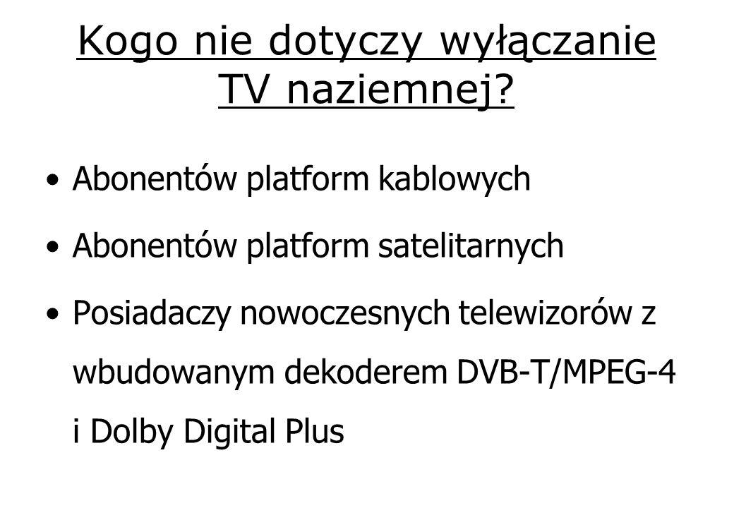 Kogo nie dotyczy wyłączanie TV naziemnej? Abonentów platform kablowych Abonentów platform satelitarnych Posiadaczy nowoczesnych telewizorów z wbudowan