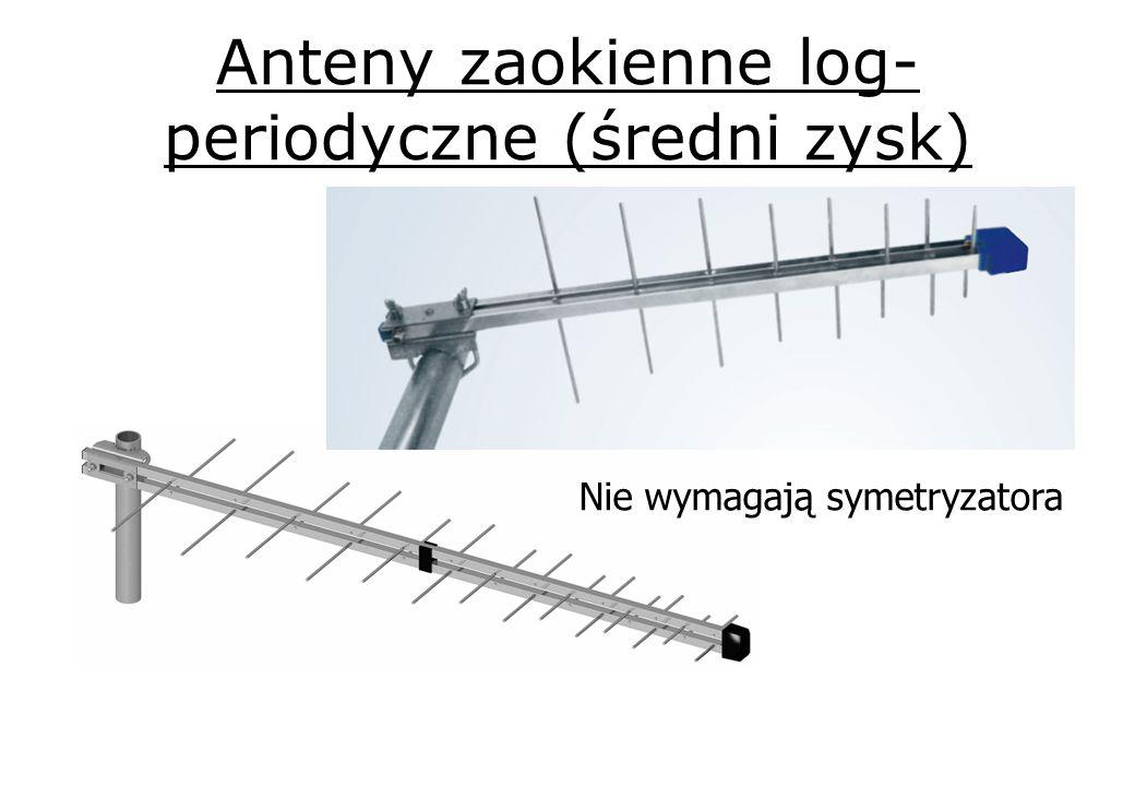 Anteny zaokienne log- periodyczne (średni zysk) Nie wymagają symetryzatora