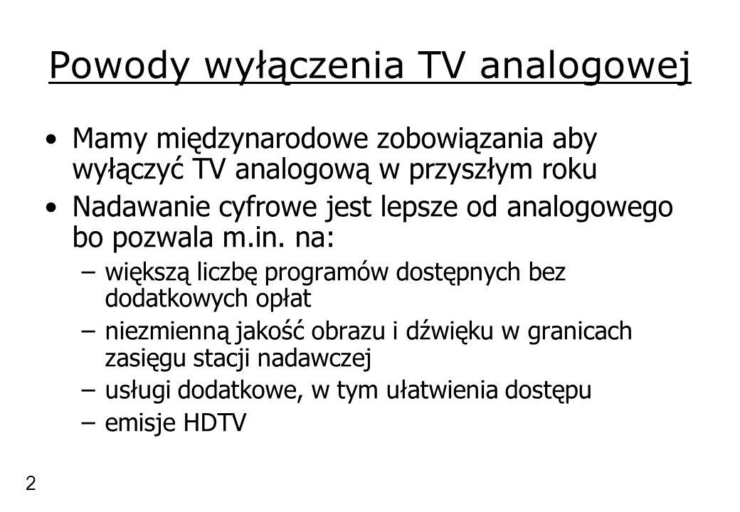 Powody wyłączenia TV analogowej Mamy międzynarodowe zobowiązania aby wyłączyć TV analogową w przyszłym roku Nadawanie cyfrowe jest lepsze od analogowego bo pozwala m.in.