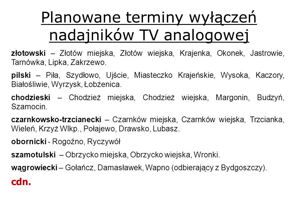 Planowane terminy wyłączeń nadajników TV analogowej złotowski – Złotów miejska, Złotów wiejska, Krajenka, Okonek, Jastrowie, Tarnówka, Lipka, Zakrzewo.