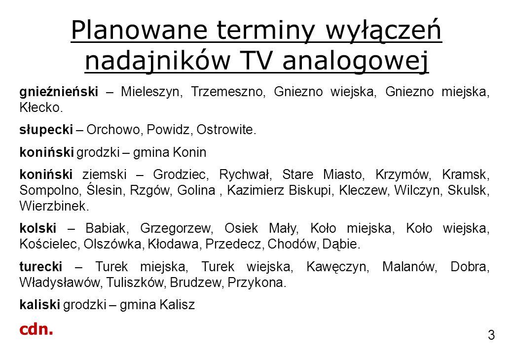 Planowane terminy wyłączeń nadajników TV analogowej gnieźnieński – Mieleszyn, Trzemeszno, Gniezno wiejska, Gniezno miejska, Kłecko. słupecki – Orchowo