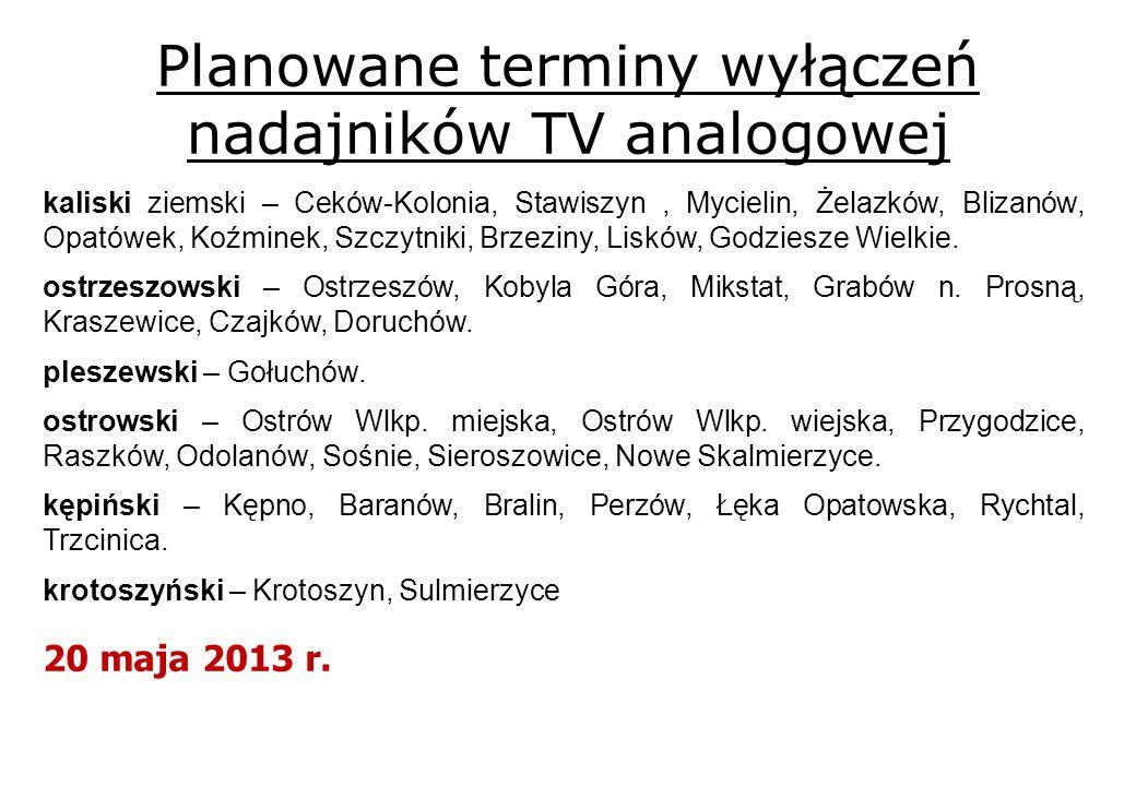 Planowane terminy wyłączeń nadajników TV analogowej kaliski ziemski – Ceków-Kolonia, Stawiszyn, Mycielin, Żelazków, Blizanów, Opatówek, Koźminek, Szczytniki, Brzeziny, Lisków, Godziesze Wielkie.