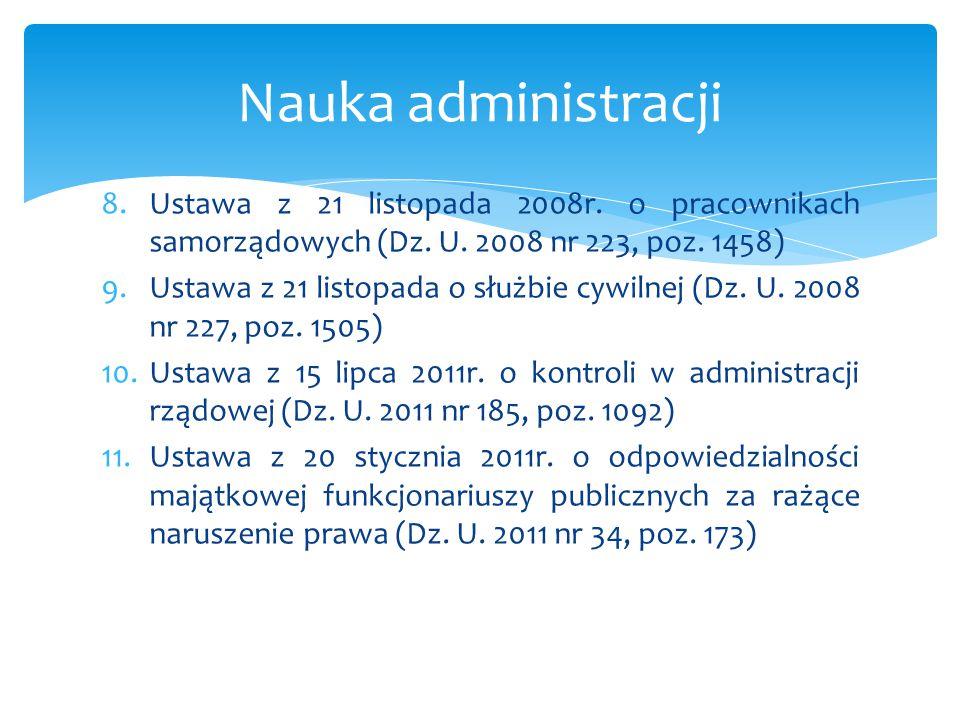 8.Ustawa z 21 listopada 2008r. o pracownikach samorządowych (Dz. U. 2008 nr 223, poz. 1458) 9.Ustawa z 21 listopada o służbie cywilnej (Dz. U. 2008 nr