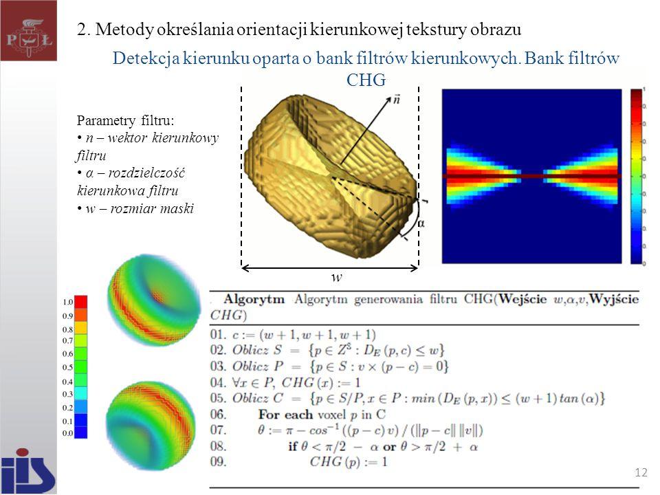 2. Metody określania orientacji kierunkowej tekstury obrazu Detekcja kierunku oparta o bank filtrów kierunkowych. Bank filtrów CHG Parametry filtru: n