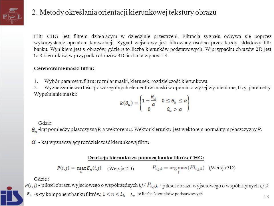 2. Metody określania orientacji kierunkowej tekstury obrazu Filtr CHG jest filtrem działającym w dziedzinie przestrzeni. Filtracja sygnału odbywa się