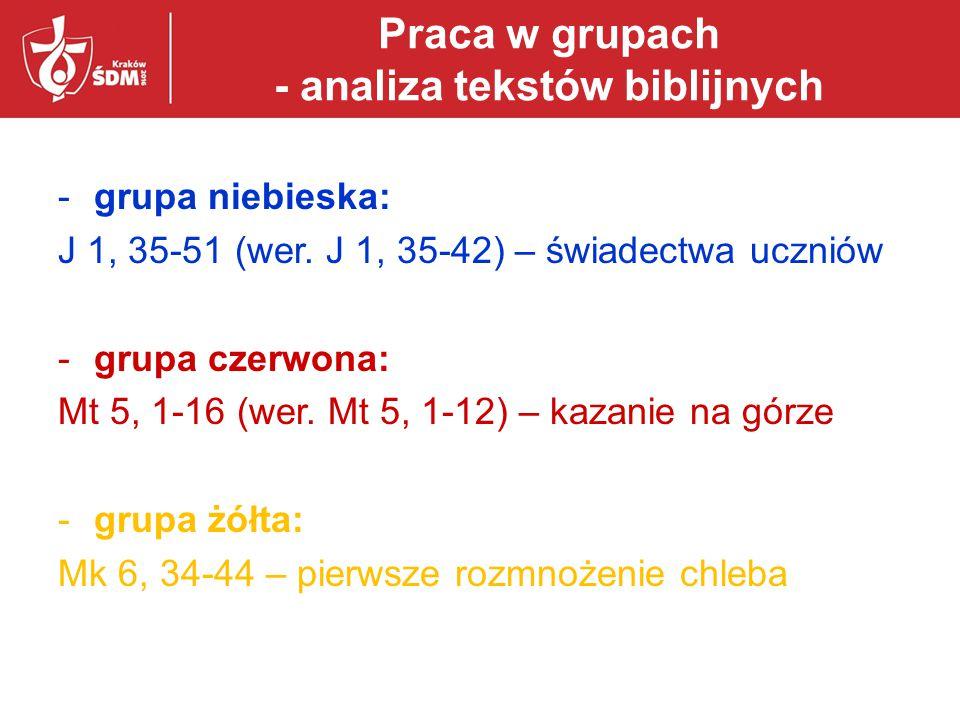 Praca w grupach - analiza tekstów biblijnych -grupa niebieska: J 1, 35-51 (wer. J 1, 35-42) – świadectwa uczniów -grupa czerwona: Mt 5, 1-16 (wer. Mt