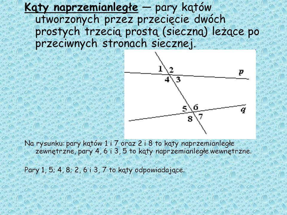 Wierzchołkowe - dwa kąty o wspólnym wierzchołku, takie, że przedłużenia ramion jednego kąta są ramionami drugiego. Kąty wierzchołkowe są równe. Zawsze
