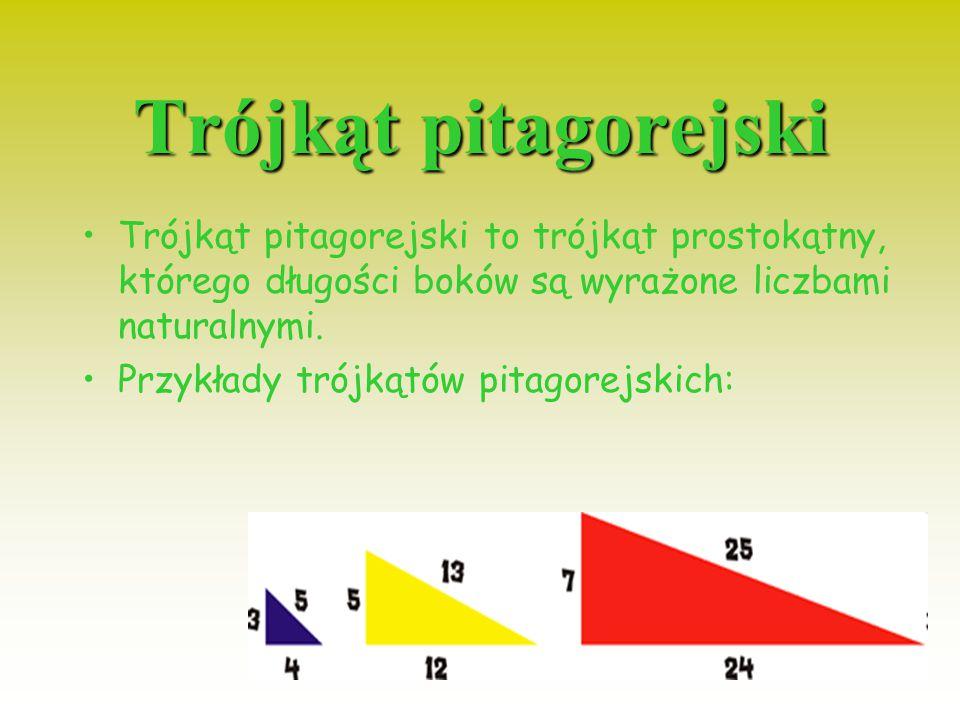 Trójkąt prostokątny Trójkąt prostokątny to trójkąt, którego jeden z kątów wewnętrznych jest prosty, czyli o mierze 90°. Dwa boki trójkąta leżące obok