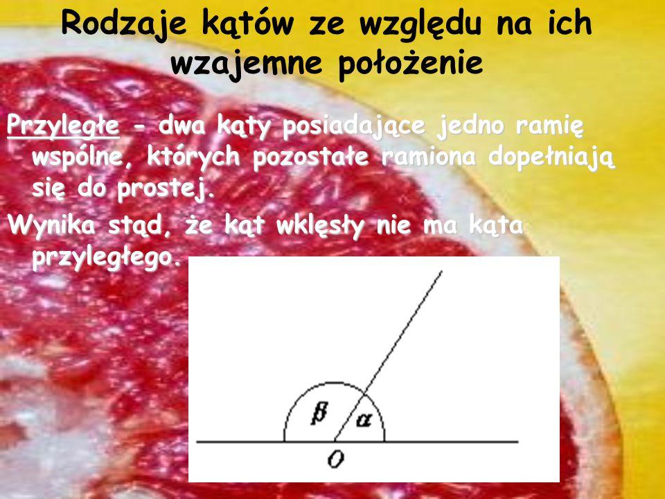 Inne kąty (ze względu na miarę) Kąt: zerowy - kąt utworzony przez dwie półproste pokrywające się i równy jednej z nich. Miara kąta zerowego jest równa