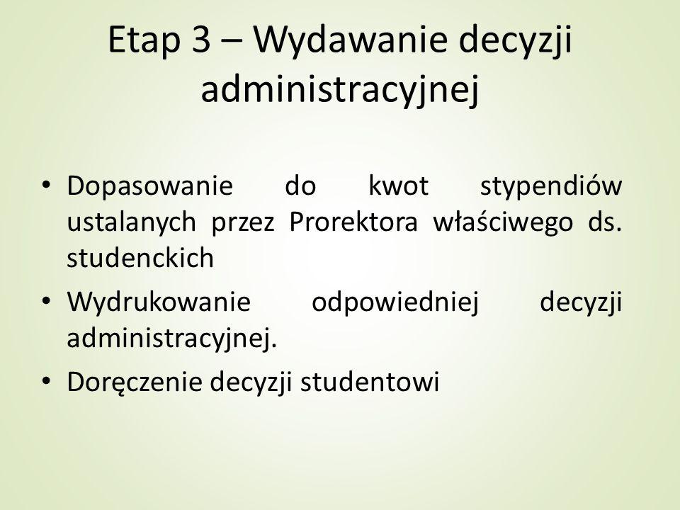 Etap 3 – Wydawanie decyzji administracyjnej Dopasowanie do kwot stypendiów ustalanych przez Prorektora właściwego ds. studenckich Wydrukowanie odpowie