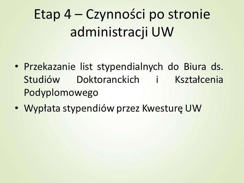 Etap 4 – Czynności po stronie administracji UW Przekazanie list stypendialnych do Biura ds. Studiów Doktoranckich i Kształcenia Podyplomowego Wypłata