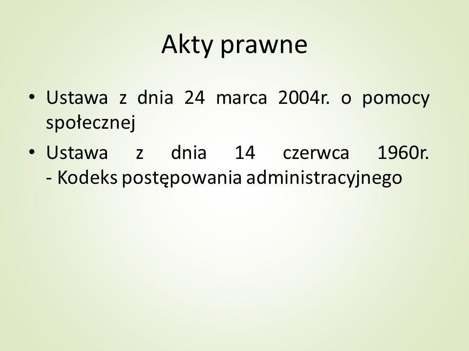 Akty prawne Ustawa z dnia 24 marca 2004r. o pomocy społecznej Ustawa z dnia 14 czerwca 1960r. - Kodeks postępowania administracyjnego