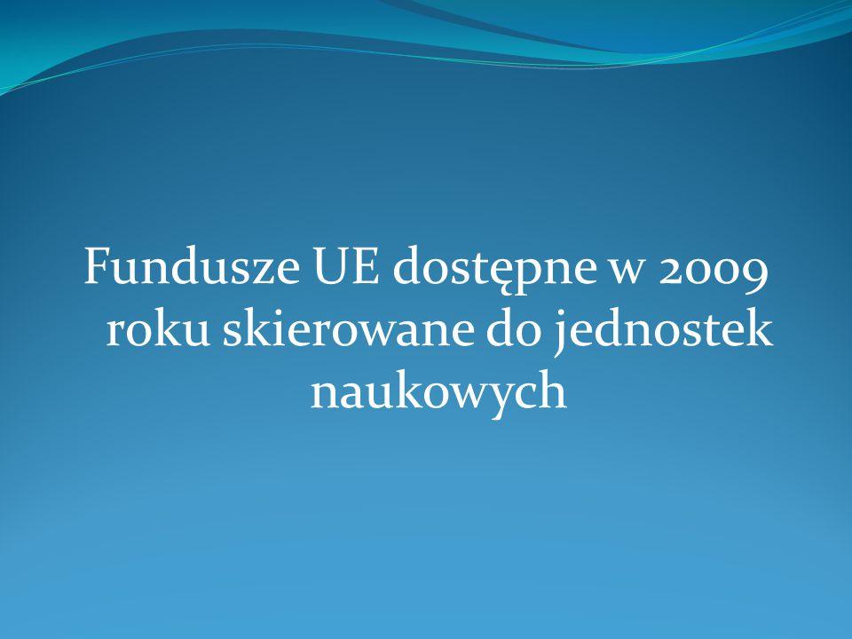 Fundusze UE dostępne w 2009 roku skierowane do jednostek naukowych