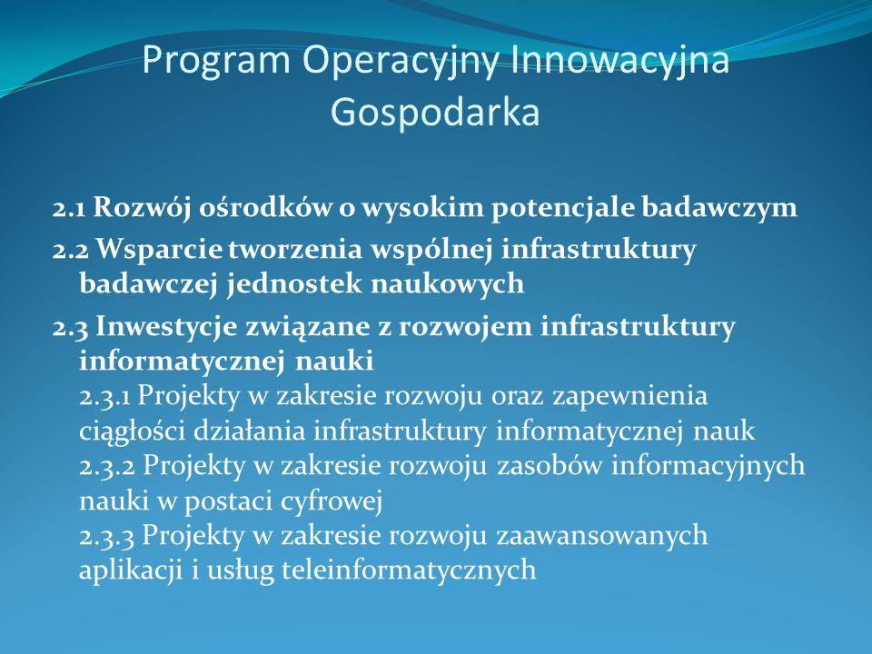 Program Operacyjny Innowacyjna Gospodarka 2.1 Rozwój ośrodków o wysokim potencjale badawczym 2.2 Wsparcie tworzenia wspólnej infrastruktury badawczej jednostek naukowych 2.3 Inwestycje związane z rozwojem infrastruktury informatycznej nauki 2.3.1 Projekty w zakresie rozwoju oraz zapewnienia ciągłości działania infrastruktury informatycznej nauk 2.3.2 Projekty w zakresie rozwoju zasobów informacyjnych nauki w postaci cyfrowej 2.3.3 Projekty w zakresie rozwoju zaawansowanych aplikacji i usług teleinformatycznych