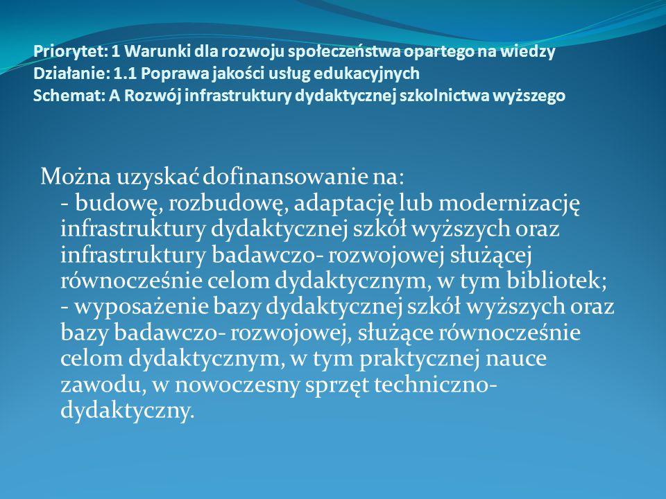Priorytet: 1 Warunki dla rozwoju społeczeństwa opartego na wiedzy Działanie: 1.1 Poprawa jakości usług edukacyjnych Schemat: A Rozwój infrastruktury dydaktycznej szkolnictwa wyższego Można uzyskać dofinansowanie na: - budowę, rozbudowę, adaptację lub modernizację infrastruktury dydaktycznej szkół wyższych oraz infrastruktury badawczo- rozwojowej służącej równocześnie celom dydaktycznym, w tym bibliotek; - wyposażenie bazy dydaktycznej szkół wyższych oraz bazy badawczo- rozwojowej, służące równocześnie celom dydaktycznym, w tym praktycznej nauce zawodu, w nowoczesny sprzęt techniczno- dydaktyczny.