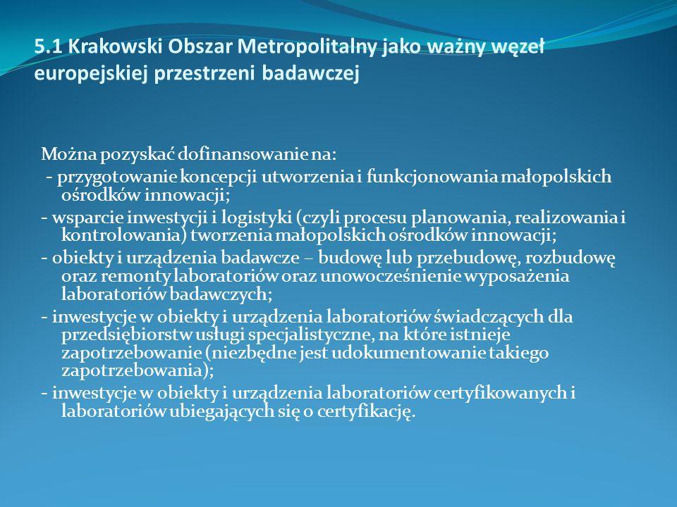 5.1 Krakowski Obszar Metropolitalny jako ważny węzeł europejskiej przestrzeni badawczej Można pozyskać dofinansowanie na: - przygotowanie koncepcji ut