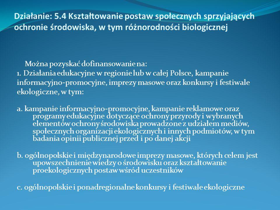 Można pozyskać dofinansowanie na: 1. Działania edukacyjne w regionie lub w całej Polsce, kampanie informacyjno-promocyjne, imprezy masowe oraz konkurs