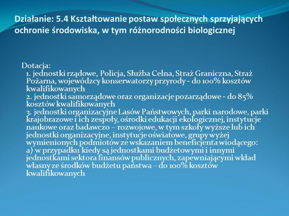 Działanie: 5.4 Kształtowanie postaw społecznych sprzyjających ochronie środowiska, w tym różnorodności biologicznej Dotacja: 1. jednostki rządowe, Pol
