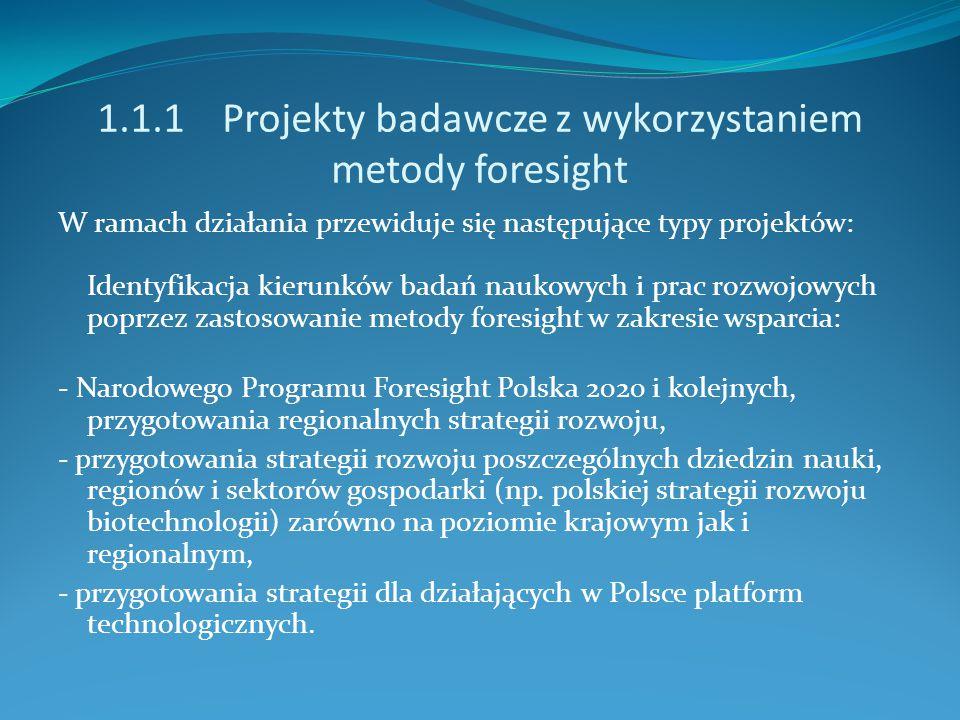 1.1.1 Projekty badawcze z wykorzystaniem metody foresight W ramach działania przewiduje się następujące typy projektów: Identyfikacja kierunków badań