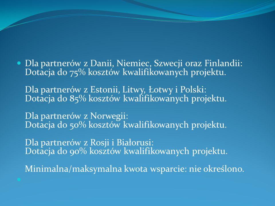 Dla partnerów z Danii, Niemiec, Szwecji oraz Finlandii: Dotacja do 75% kosztów kwalifikowanych projektu. Dla partnerów z Estonii, Litwy, Łotwy i Polsk