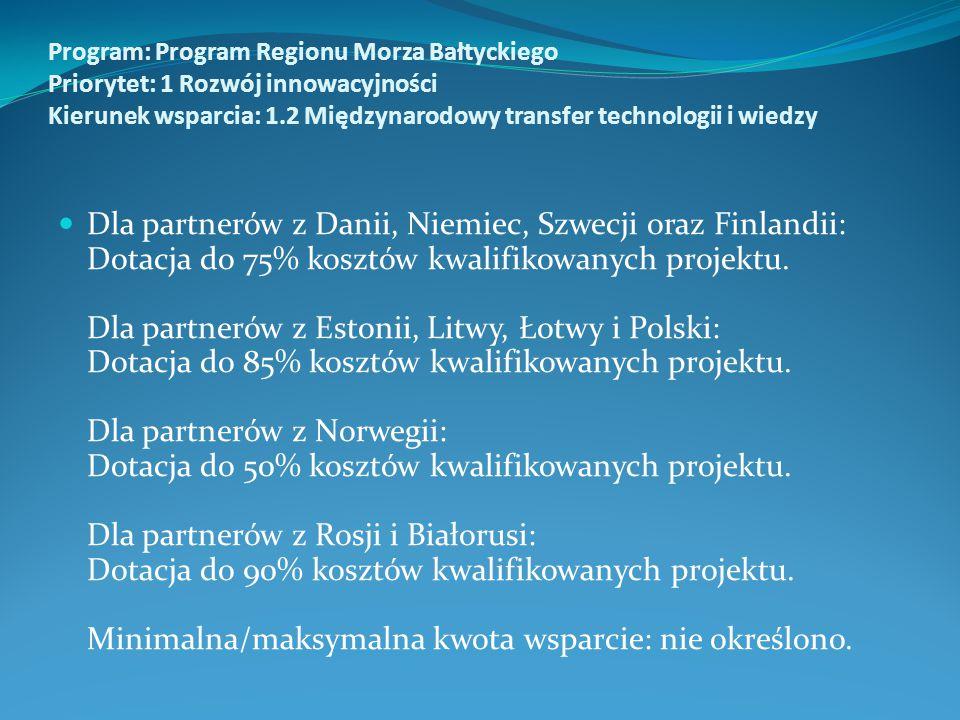 Program: Program Regionu Morza Bałtyckiego Priorytet: 1 Rozwój innowacyjności Kierunek wsparcia: 1.2 Międzynarodowy transfer technologii i wiedzy Dla