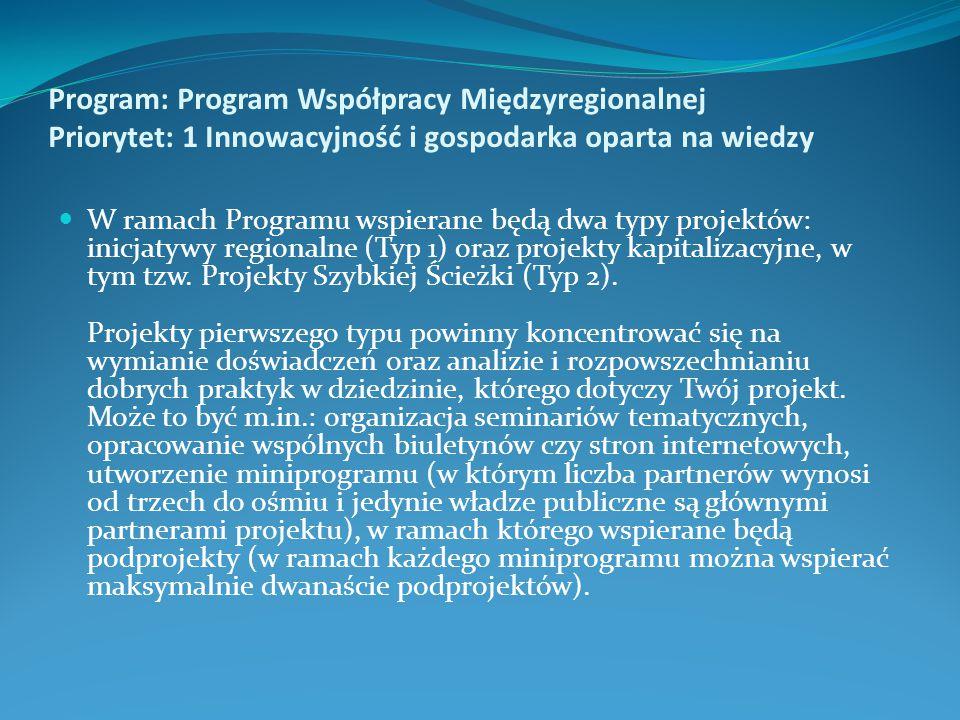 Program: Program Współpracy Międzyregionalnej Priorytet: 1 Innowacyjność i gospodarka oparta na wiedzy W ramach Programu wspierane będą dwa typy projektów: inicjatywy regionalne (Typ 1) oraz projekty kapitalizacyjne, w tym tzw.
