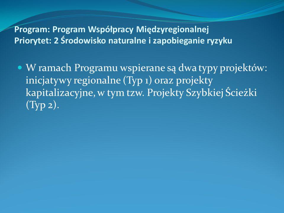 Program: Program Współpracy Międzyregionalnej Priorytet: 2 Środowisko naturalne i zapobieganie ryzyku W ramach Programu wspierane są dwa typy projektó