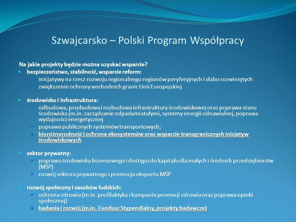 Szwajcarsko – Polski Program Współpracy Na jakie projekty będzie można uzyskać wsparcie? bezpieczeństwo, stabilność, wsparcie reform: inicjatywy na rz