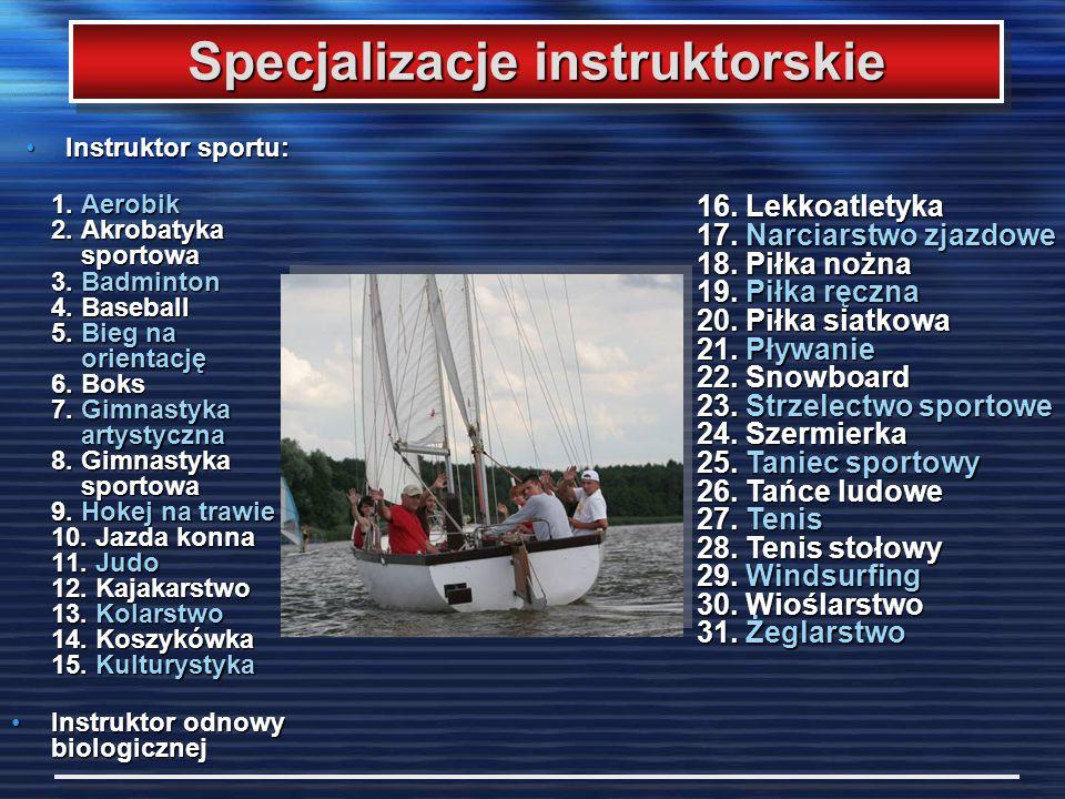 Instruktor sportu:Instruktor sportu: 1. Aerobik 2. Akrobatyka sportowa 3. Badminton 4. Baseball 5. Bieg na orientację 6. Boks 7. Gimnastyka artystyczn