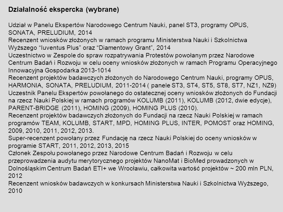 Działalność ekspercka (wybrane) Udział w Panelu Ekspertów Narodowego Centrum Nauki, panel ST3, programy OPUS, SONATA, PRELUDIUM, 2014 Recenzent wniosk