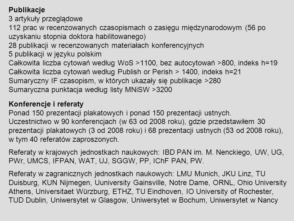 Publikacje 3 artykuły przeglądowe 112 prac w recenzowanych czasopismach o zasięgu międzynarodowym (56 po uzyskaniu stopnia doktora habilitowanego) 28