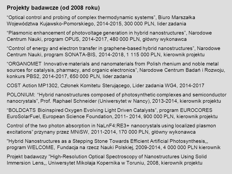 """Projekty badawcze (od 2008 roku) """"Optical control and probing of complex thermodynamic systems"""", Biuro Marszałka Województwa Kujawsko-Pomorskiego, 201"""
