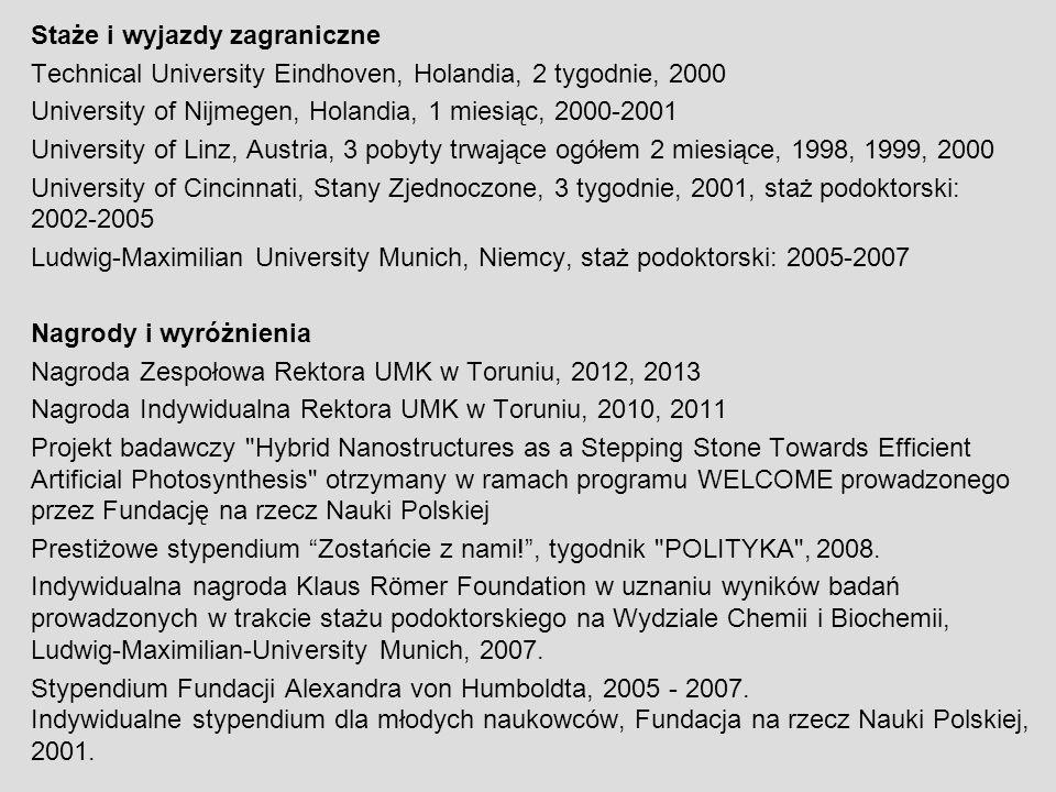 Staże i wyjazdy zagraniczne Technical University Eindhoven, Holandia, 2 tygodnie, 2000 University of Nijmegen, Holandia, 1 miesiąc, 2000-2001 Universi