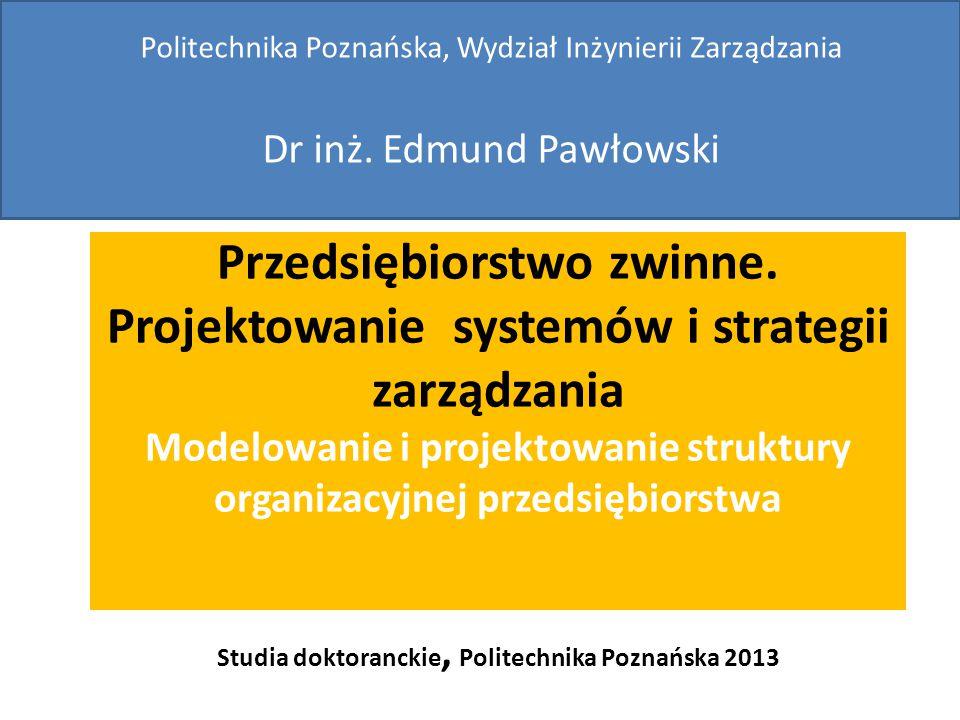 Przedsiębiorstwo zwinne. Projektowanie systemów i strategii zarządzania Modelowanie i projektowanie struktury organizacyjnej przedsiębiorstwa Studia d